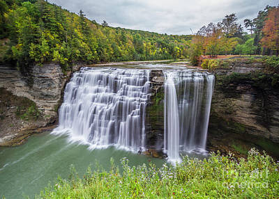 Photograph - View Of Letchworth Middle Falls by Karen Jorstad