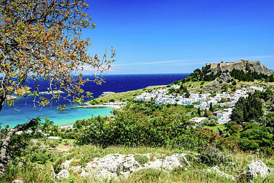 Photograph - View Of Lindos, Rhodes, Greece by Global Light Photography - Nicole Leffer