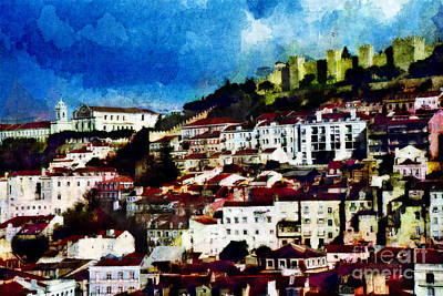 Rooftops Mixed Media - View Of Lisbon by Dariusz Gudowicz