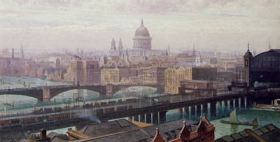 English Scene Painting - View Of London Showing St Paul's And Canon Street Station From Southwark Bridge by John Crowther