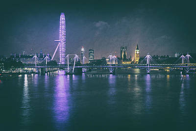 Photograph - View Of London, With Nocturnal Lighting, Reflected In The Waters by Alfio Finocchiaro