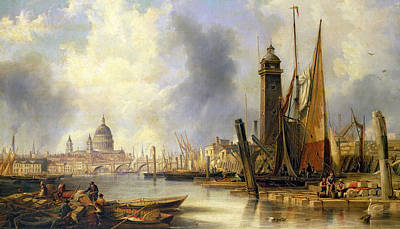 River Scenes Painting - View Of London With St Paul's by John Wilson Carmichael