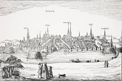 Lubeck Drawing - View Of Lubeck And Its Harbour In 16th by Vintage Design Pics