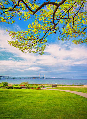 Photograph - View Of Mackinac Bridge by LeeAnn McLaneGoetz McLaneGoetzStudioLLCcom