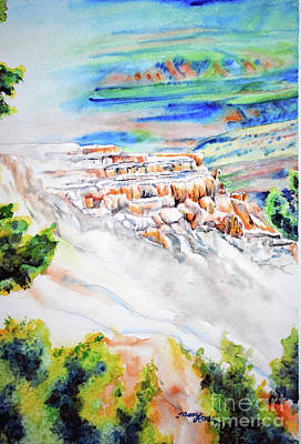 Mammoth Spring Painting - View Of Mammoth Hot Springs by Tracy Rose Moyers