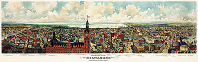 Photograph - View Of Milwaukee 1898 by Andrew Fare