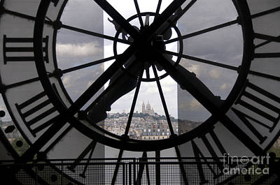 View Of Montmartre Through The Clock At Museum Orsay.paris Art Print by Bernard Jaubert