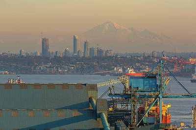 Photograph - View Of Mount Baker And Vancouver Bc At Sunset by David Gn