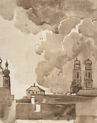 Drawing - View Of Munich With Marienkirche On Right by Franz Kobell