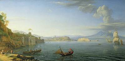 Italian Landscape Painting - View Of Naples by Adrien Manglard