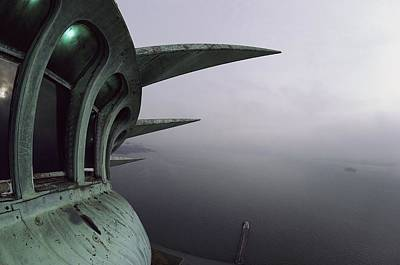 Statue Of Liberty Photograph - View Of New York Harbor From The Top by Paul Chesley