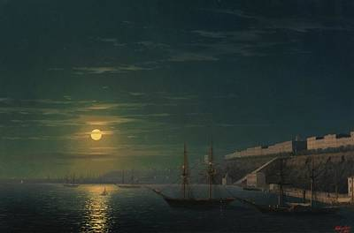 View Of Odessa On A Moonlit Night Art Print by Ivan Konstantinovich
