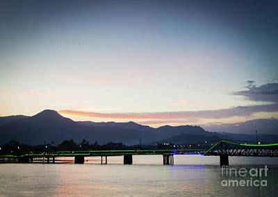 Photograph - View Of Old Bridge In Kampot Town Cambodia At Sunset by Jacek Malipan