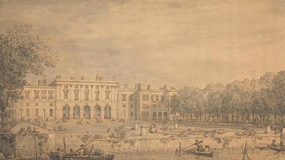 House Drawing - View Of Old Somerset House From The Thames by Canaletto