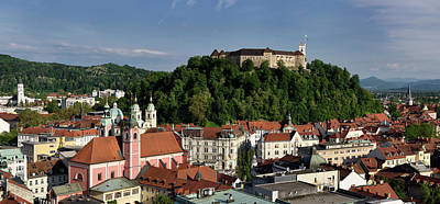 Photograph - View Of Old Town Of Lubljana Slovenia From The Skyscraper Of Chu by Reimar Gaertner