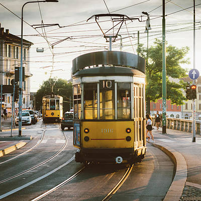 View Of Old Yellow Tram In Milan, Italy Art Print