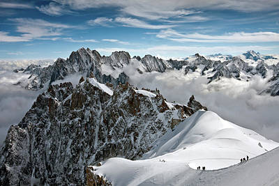 Snow. Mountain Photograph - View Of Overlooking Alps by Ellen van Bodegom
