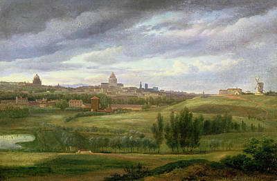 Oil Dome Painting - View Of Paris From Butte Aux Cailles by Jean Baptiste Gabriel Langlace