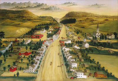 Charming Town Painting - View Of Poestenkill New York by Joseph Hidley