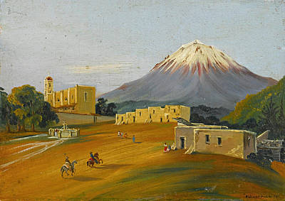 Puebla Painting - View Of Popocatepetl Seen From The Valley Of Mexico by Johann Moritz Rugendas