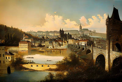 Charles River Painting - View Of Prague With The Charles Bridge Crossing The Vitava River by Mountain Dreams
