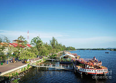 Photograph - View Of River Boat Restaurants In Kampot Town Cambodia by Jacek Malipan