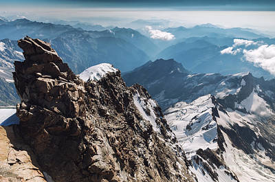 Outoors Photograph - View Of Rocks From Gnifetti, Capana Margherita In The Swiss Alps by Olga Reznikova