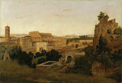 Gustaf Wilhelm Palm Painting - View Of Rome With The Colosseum. Study by Gustaf Wilhelm Palm