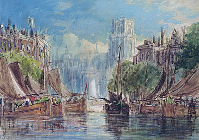 Netherlands Painting - View Of Rotterdam by George Chambers