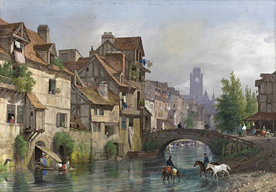 View Of Rouen Art Print by Giuseppe Canella