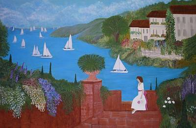 View Of Sailboats Art Print by Anke Wheeler