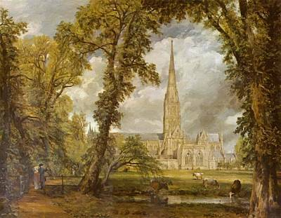 Painting - View Of Salisbury Cathedral From The Bishop Grounds by Constable John