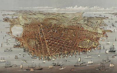 Harbor Drawing - View Of San Francisco by American School