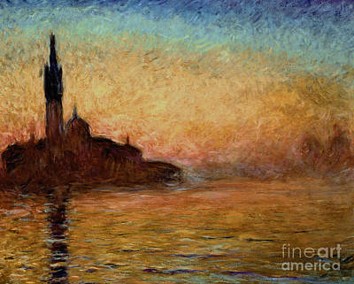 Reflecting Sunset Painting - View Of San Giorgio Maggiore by Claude Monet
