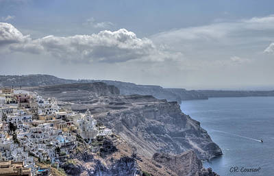 View Of Santorini Art Print by CR  Courson