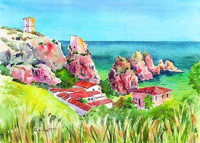 Painting - View Of Scopello Sicily by Kathleen  Gwinnett
