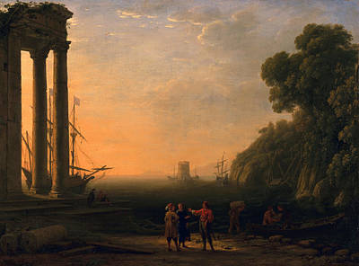 View Of Seaport Art Print by Claude Lorrain