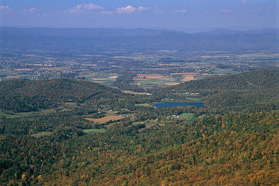 Park Scene Photograph - View Of Shenandoah Valley And The Town by Raymond Gehman