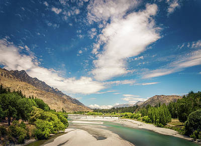 Photograph - View Of Shotover River And Bridge In Queenstown, New Zealand. by Daniela Constantinescu