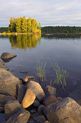 Boundary Waters Photograph - View Of Small Island From Rocky Shore by Panoramic Images