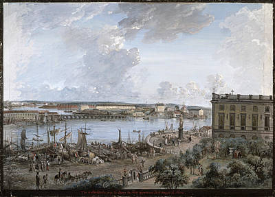 Seacoast Drawing - View Of Stockholm 1 by Elias Martin