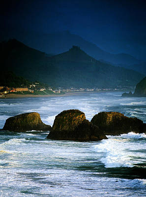 View Of Storm Over Cannon Beach From Print by Panoramic Images