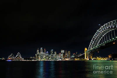 Photograph - View Of Sydney City Harbour In Australia At Night by Jacek Malipan