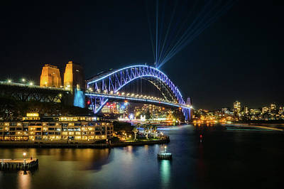 Photograph - View Of Sydney Harbour Bridge Illuminated For Vivid by Daniela Constantinescu