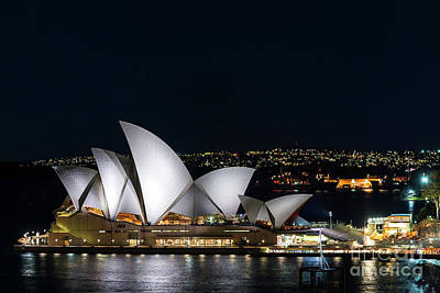 Photograph - View Of Sydney Opera House Landmark Exterior At Night Australia by Jacek Malipan