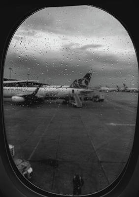 Photograph - View Of The Aircraft Through The Window With Raindrops by Alexandre Rotenberg