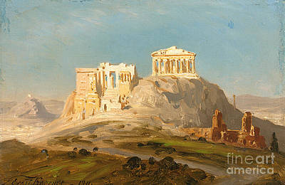 View Of The Akropolis Art Print by Celestial Images