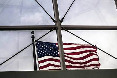 Photograph - View Of The American Flag Through The Glass Dome Of The Overture Center by Jeanette Fellows