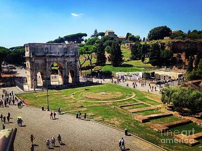 Photograph - View Of The Arch Of Constantine From The Colosseum by Angela Rath