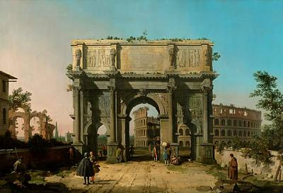 Antique Italian Oil Painting - View Of The Arch Of Constantine With The Colosseum by Canaletto